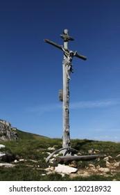 Italy beauty, Dolomites, crucifix on Stevia mount