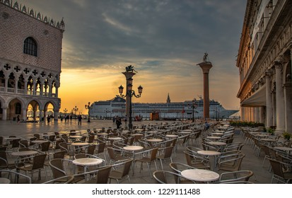Italy beauty, gigantic cruise  from San Marco square in Venice , Venezia