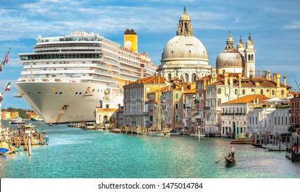 Italy beauty, gigantic cruise ship leaving Venice, gondola on Grand canal, cathedral Santa Maria della Salute, Venezia