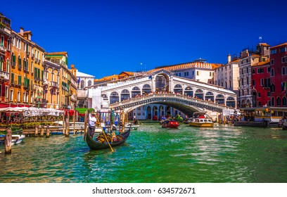 Italy beauty, gondola near to Rialto bridge on Grand canal street in Venice, Venezia