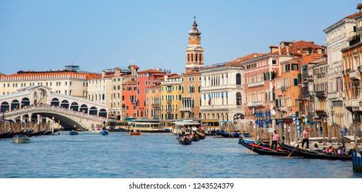 Italy beauty, gondolas near to Rialto bridge on Grand canal in Venice, Venezia