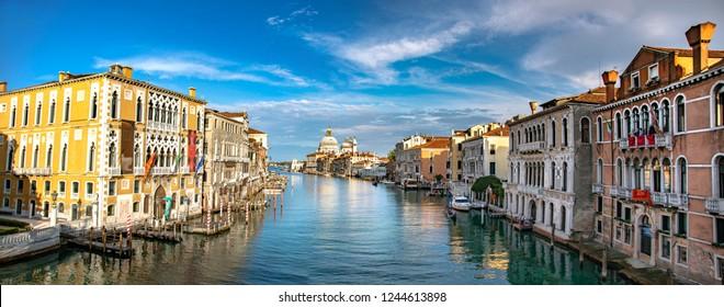 Italy beauty, Grand canal with cathedral Santa Maria della Salute in Venice, Venezia