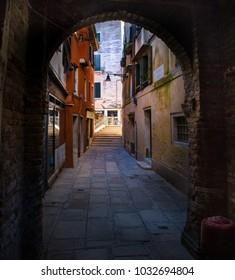 Italy beauty, hidden narrow street place in Venice , Venezia