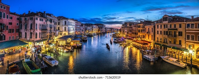 Italy beauty, late evening view from famous canal bridge Rialto in Venice, Venezia