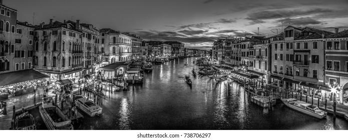 Italy beauty, late evening view from famous canal bridge Rialto in Venice, Venezia