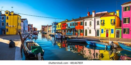 Italy beauty, morning on one of canal streets on Burano island, Venice , Venezia