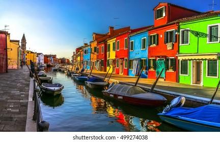Italy beauty, morning on one of canal streets in Burano, Venice, Venezia