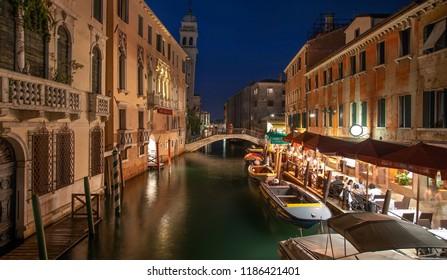 Italy beauty, night canal street in Venice, Venezia