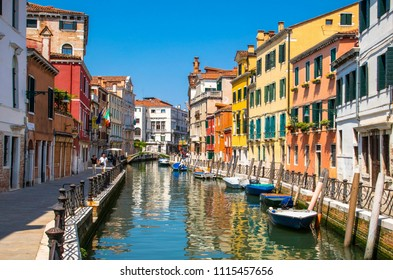 Italy beauty, one of attractive canal streets in Venice , Venezia
