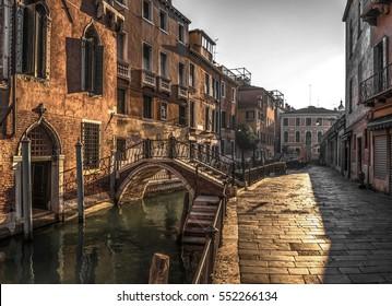 Italy beauty, one of canal streets in Venice, Venezia