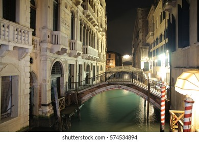 Italy beauty, one of canal streets in Venice, night Venezia