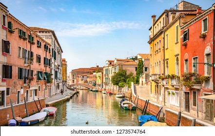Italy beauty, one of typical canal street in Venice, Venezia