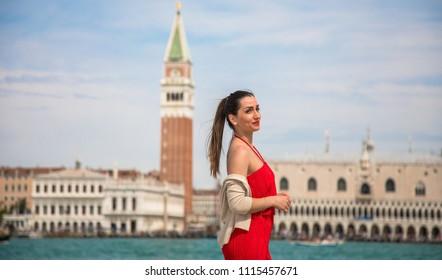 Italy beauty, pretty girl on San Giorgio Maggiore island, Venice , Venezia