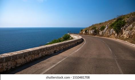 Italy beauty, road along the sea, region Salento, Apulia