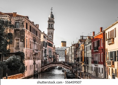 Italy beauty, slanting tower and gigantic cruise ship passing by the street of Venice , Venezia