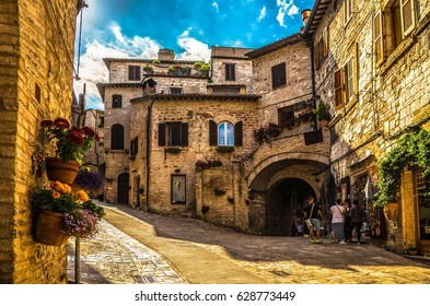 Italy beauty, street in Assisi, Umbria