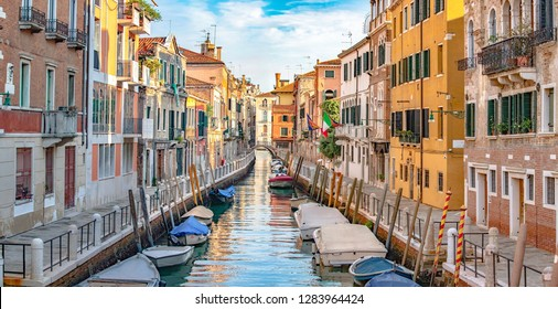 Italy beauty, typical canal street in Venice, Venezia