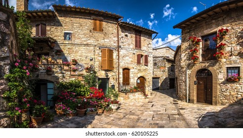 Italy beauty, typical tuscany flowers street, Tuscany , Toscana