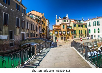 Italy beauty, typical very small square in Venice , Venezia