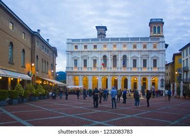 ITALY, BERGAMO - November 4, 2018: Angelo Mai Civic Library (Biblioteca Civica Angelo Mai) on the Piazza Vecchia in Bergamo