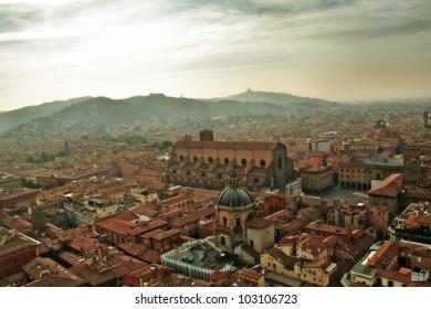Italy, Bologna. Aerial view