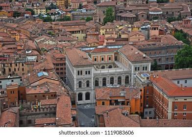 Italy, Bologna Cassa di Risparmio building aerial view from Asinelli tower