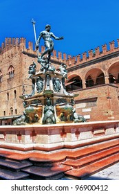 Italy bologna the fountain of Neptune in old town