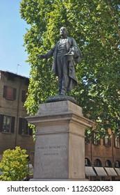 Italy, Bologna Marco Minghetti statue.