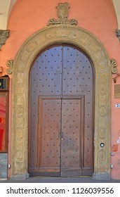 Italy, Bologna old medieval building main door.