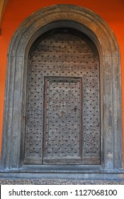 Italy, Bologna old medieval house front door in Oberdan street.