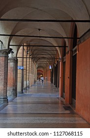 Italy, Bologna old medieval typical portico in Maggiore street.