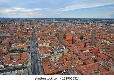 Italy, Bologna Rizzoli street aerial view from Asinelli tower