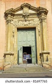 Italy, Bologna Saint Salvatore church main door.