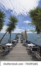 Italy, Bracciano lake, Trevignano (Rome), restaurant by the lake