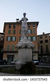 Italy, Brescia -26 June 2019: Fountain of the Minerva (Fontana della Minerva), neoclassical statue by Cignaroli AD 1818, Del Duomo Square (Piazza del Duomo)/ Paolo VI Square (Piazza Paolo VI)