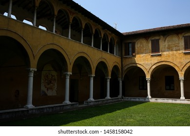 ITALY, BRESCIA -26 June 2019: Vast monastery including three cloisters managed by the Xaverian Fathers with adjoing the San Christo Church  completely frescoed  by Benedetto da Marone in 16th century
