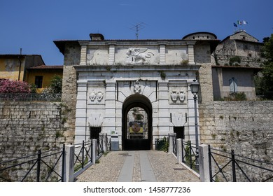 ITALY, BRESCIA - 26 June 2019: Castle of Brescia, the ancient part of Brescia. Called the Falcon of Italy, one of the largest fortified complexes with 75,000 square metres enclosed within walls