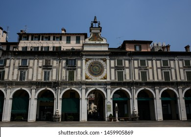 ITALY, BRESCIA- 26 June 2019: The renaissance Clock Tower, Piazza Loggia, Loggia Square. The astronomical, two-sided watch.