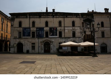 ITALY, BRESCIA - 26 June 2019: Piazza della Loggia, Square della Loggia. Rectangular shape with buildings from the Venetian period, among which stands Loggia, seat of the municipal council of Brescia