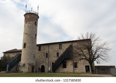 Italy, Brescia -December 31 2017: the view of the Mirabella Tower, the only fragment from chiesa di Santo Stefano in Castello di Brescia on December 31 2017, Lombardy, Italy.