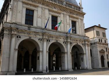 ITALY, BRESCIA: Piazza della Loggia, Square della Loggia. Its shape is rectangular, delimited by buildings from the Venetian period, among which stands Loggia, seat of the municipal council of Brescia