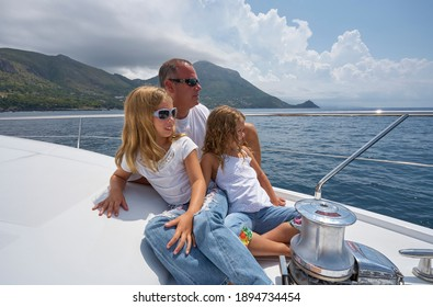 Italy, Calabria, Mediterranean Sea, Maratea; 4 August 2006, people on a PERSHING 62 luxury yacht - EDITORIAL
