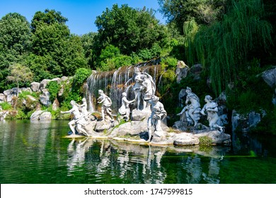 Italy, Campania, Caserta - 10 August 2019 - Diana and Actaeon Fountain in Caserta
