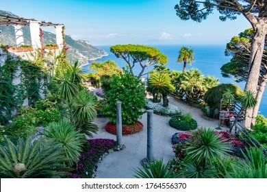 Italy, Campania, Ravello - 15 August 2019 - The wonderful garden of Villa Rufolo