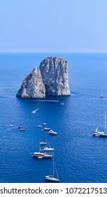 Italy. Capri Island. Faraglioni rock formation seen from Gardens of Augustus
