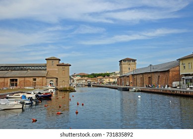 Italy, Cervia general view of the village antique canal.