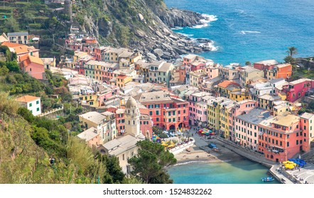 Italy, Cinque Terre, Vernazza-20 April, 2019: Scenic view of Vernazza shoreline