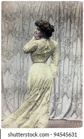 ITALY - CIRCA 1914: Vintage postcard printed in ITALY shows hand painted photograph of famous Italian cinema and theater actress Lyda Borelli. Circa 1914.