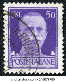 "ITALY - CIRCA 1929: A stamp printed in Italy shows a Portrait of King of Italy Victor Emmanuel III, without inscription, from the series ""King of Italy Victor Emmanuel III"", circa 1929"