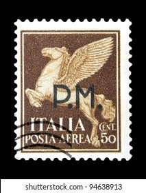 """ITALY - CIRCA 1930: A stamp printed in Italy shows image of Pegasus - mythological creatures in Greek mythology - the horse with wings, with inscription """"P.M."""", from the series """"Airmail"""", circa 1930"""